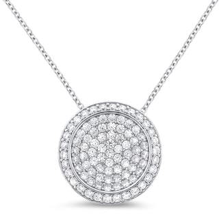 Meredith Leigh Sterling Silver Pave Cubic Zirconia Circle Pendant