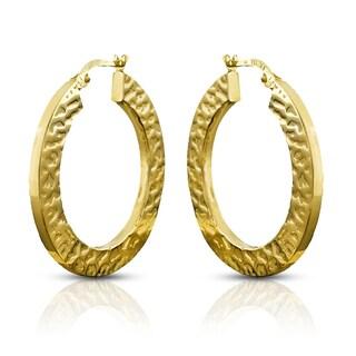 14k Yellow Gold Leopard Pattern Flat Squared Hoop Earrings