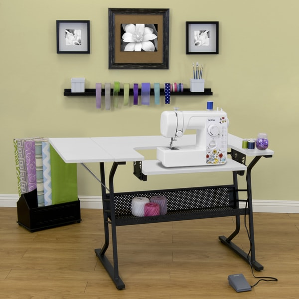 Make Home Sewing Easier With This Heavy Duty Machine Table A Drop Down Platform And Adjule Floor Levers Allow You To Adjust The Height Of