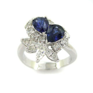 Kabella 18k White Gold Pear-cut Sapphire 1 1/6ct TDW Diamond Ring (G-H, SI1-SI2)
