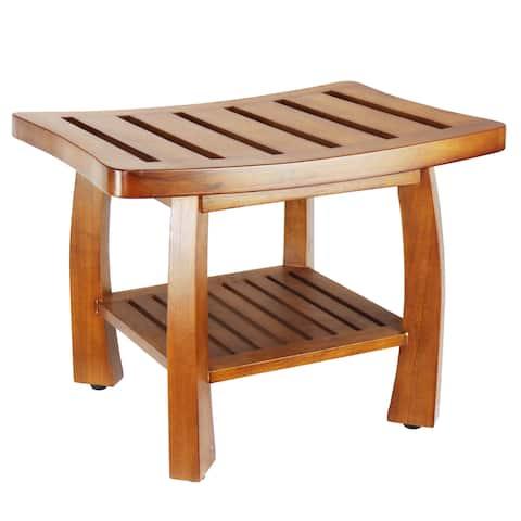 Oceanstar Solid Wood Spa Shower Bench with Storage Shelf