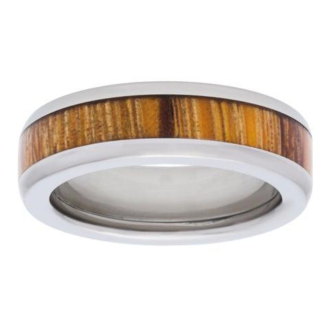 Titanium Marblewood Half Round Ring
