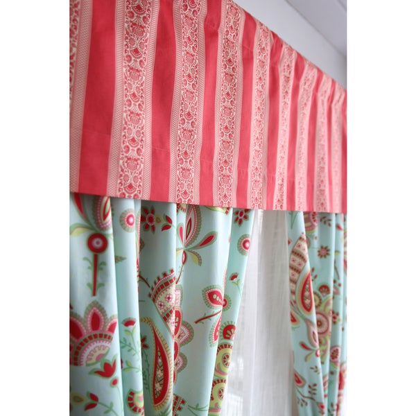Amy Butler Red Striped Window Valance