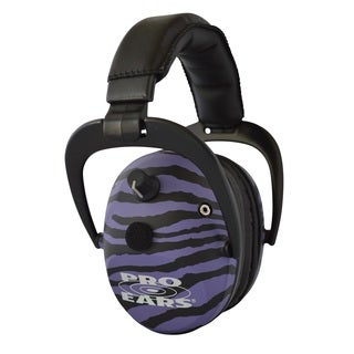 Pro Ears NRR 26 Predator Gold Purple Zebra Hearing Protection and Amplfication Contoured Ear Muffs