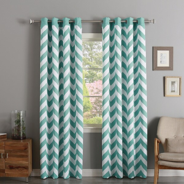 Shop Aurora Home Chevron Print Room Darkening Grommet Top