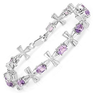 Malaika Sterling Silver 5 1/2ct Amethyst and 1/8ct TDW Diamond Bracelet