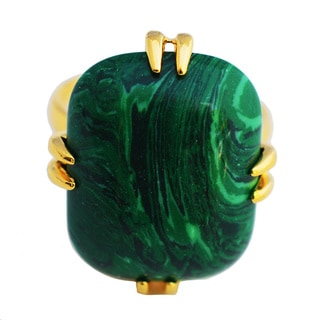 Emerald Lure Mila 24k Gold Plated Green Malachite Ring