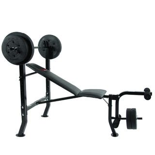Sunny Health & Fitness SF-BH6510 100-pound Weight Bench Set|https://ak1.ostkcdn.com/images/products/10486371/P17574503.jpg?impolicy=medium