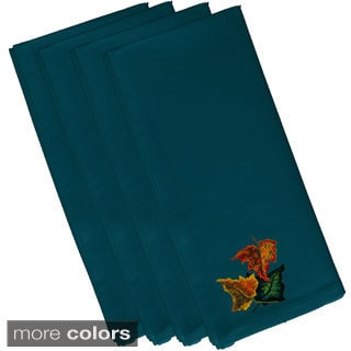 Teal Polyester 19x19 Autumn Colors Floral Print Napkin