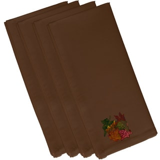 Brown Polyester 19x19 Autumn Leaves Floral Print Napkin