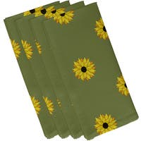 Green Polyester 19x19 Sun Floral Frenzy Floral Print Napkin