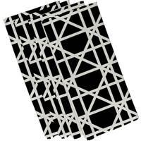Black Polyester 19x19 Trellis Geometric Print Napkin