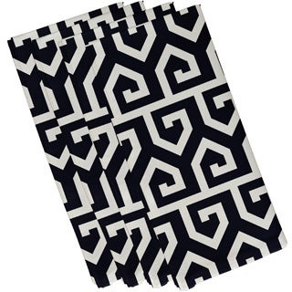 Navy Blue Polyester 19x19 Keyed Up Geometric Napkin