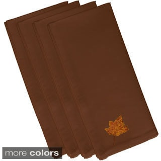 Brown Polyester 19x19 Dancing Leaves Floral Print Napkin