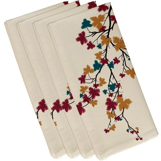 Teal Polyester 19x19 Maple Hues Floral Print Napkin