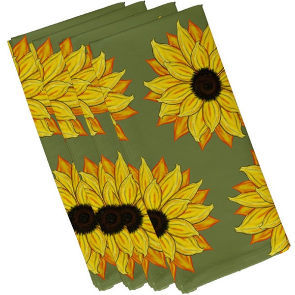 Green Polyester 19x19 Sun Floral Power Floral Napkin