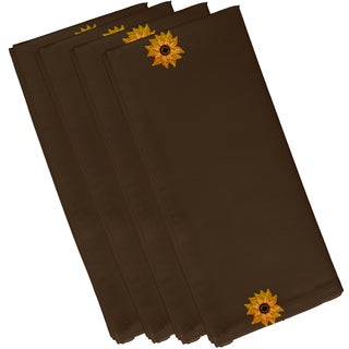 Brown Polyester 19x19 El Girasol Feliz Floral Print Napkin