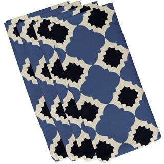 Blue Polyester 19x19 Medina Geometric Print Napkin