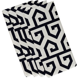 Navy Blue Polyester 19x19 Keyed Up Geometric Print Napkin
