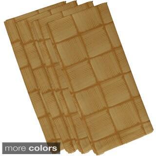 Navy Blue Polyester 19x19 Basketweave Geometric Print Napkin