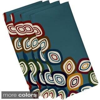 Aqua Polyester 19x19 Falling Leaves Geometric Print Napkin