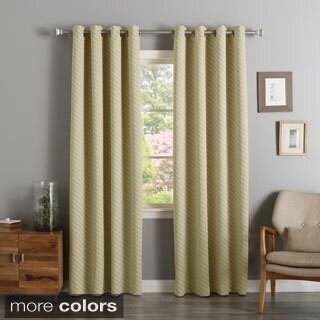 Aurora Home Diagonal Stripe Room Darkening Siver Grommet Top Curtain Panel Pair