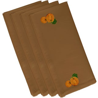 Brown Polyester 19x19 Pumpkin Patch Holiday Print Napkin