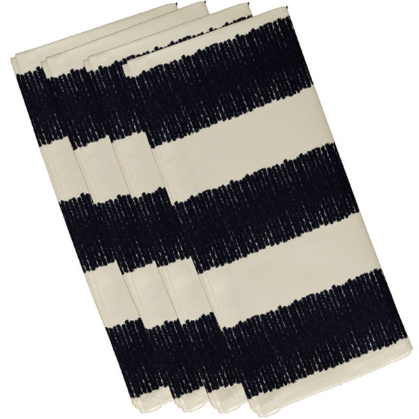 Navy Blue Polyester 19x19 Twisted Stripe  Print Napkin