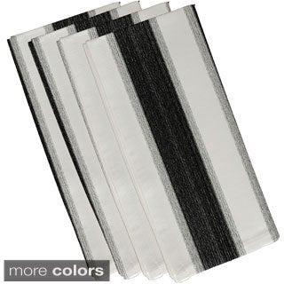 Black Polyester 19x19 Striate Stripe Print Napkin