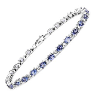 Malaika Sterling Silver 4 5/8ct Tanzanite and 1/4ct TDW Diamond Bracelet