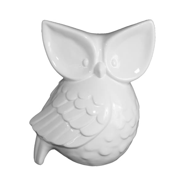 10 Inch Porcelain White Owl Decor Free Shipping Today