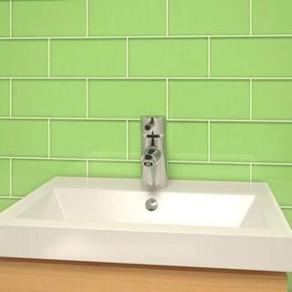 Powder Room Green Subway Tiles (5.5 Square Feet) (44 Pieces per Unit)