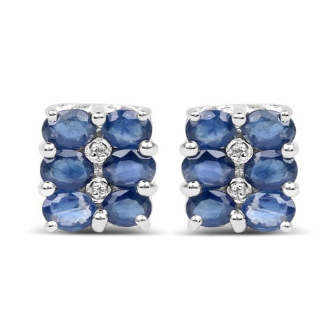 Olivia Leone Sterling Silver 3ct Blue Sapphire and Diamond Accent Earrings