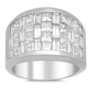 18k White Gold 4ct TDW Invisible-set Diamond 3-row Ring (E-F, VS1-VS2)