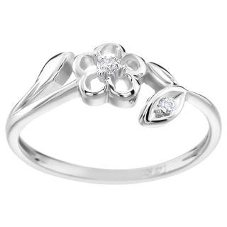 SummerRose 14k White Gold Diamond Accent Flower Ring