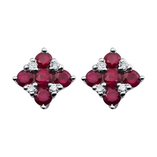 Boston Bay Diamonds 14k White Gold 3/4 TGW Ruby and Diamond Accent Square Stud Earrings