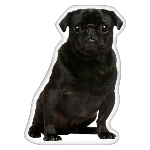 Pug Black Shaped Pillow