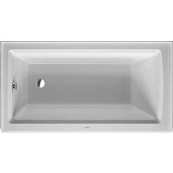 Duravit 60-inch White Alpine Integrated Panel Architec Soaking Bathtub