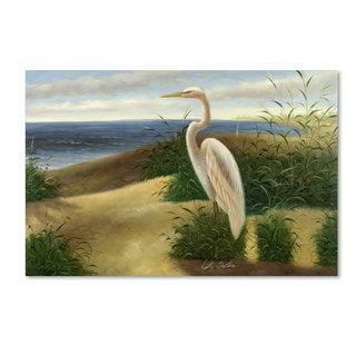 Victor Giton 'One Heron at the Beach' Canvas Art