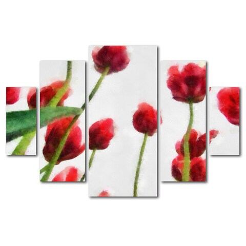 Michelle Calkins 'Red Tulips from Bottom Up II' 5 Panel Art Set