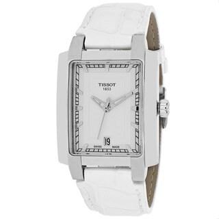 Tissot Women's TXL Rectangle White Leather Strap Watch