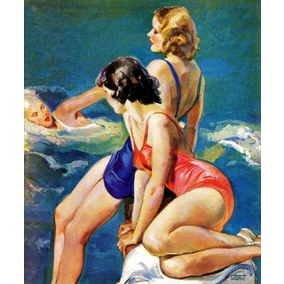 """Marmont Hill - """"At the Pool"""" by John LaGatta Painting Print on Canvas"""