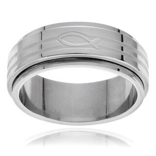 Vance Co. Men's Stainless Steel Ichtus Fish Spinner Ring (8mm)