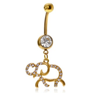 Misbehave Stainless Steel Cubic Zirconia Elephant Navel Ring