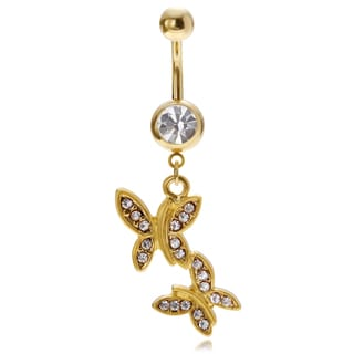 Misbehave Stainless Steel Cubic Zirconia Butterfly Navel Ring