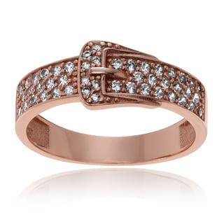 Journee Collection Rose Goldplated Sterling Silver CZ Accent Belt Ring
