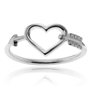 Journee Collection Sterling Silver Arrow Heart Ring