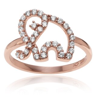 Journee Collection Rose Goldplated Sterling Silver CZ Accent Elephant Ring
