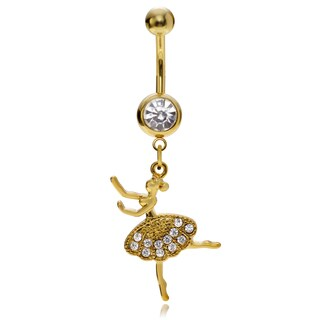 Misbehave Stainless Steel Cubic Zirconia Ballerina Navel Ring (2 options available)