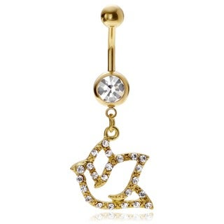 Misbehave Stainless Steel Cubic Zirconia Dove Navel Ring (2 options available)